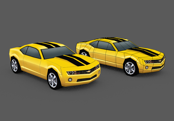 Create a low poly camaro in blender part 1 final product image malvernweather