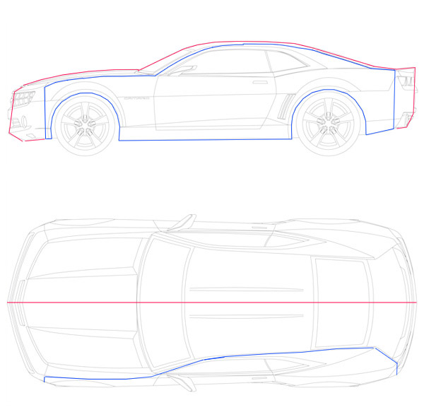 Create a low poly camaro in blender part 1 the lines marked in blue are the actual sides of the car whereas the line in red is not the red line is the center of the car malvernweather Image collections
