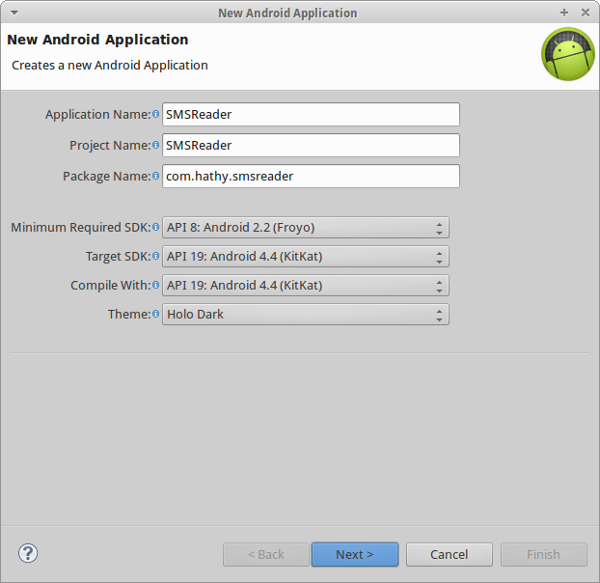 New Android Application window