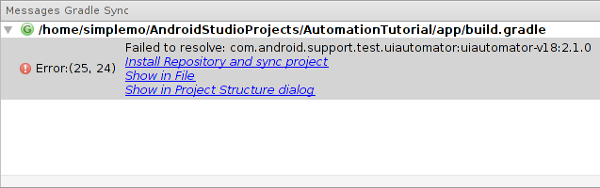 Error while syncing project