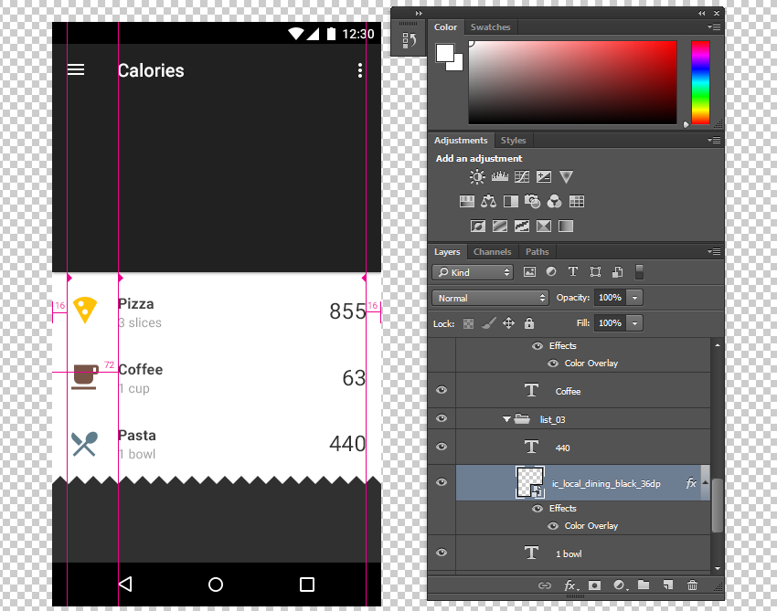 Designing an App Using the Material Design Sticker Sheet