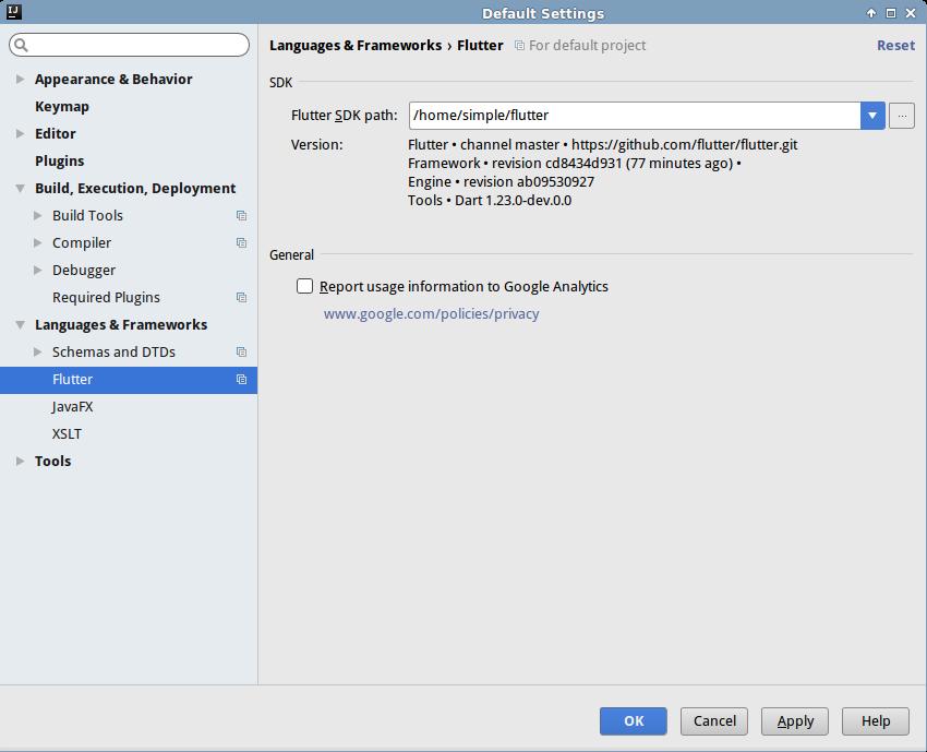 Flutter plugin configuration dialog