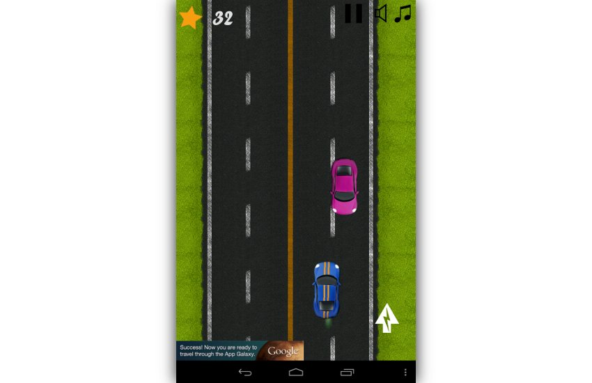 Classic highway car avoidance game screenshot