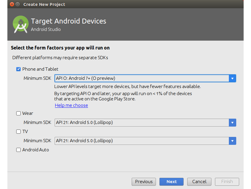Target android devices dialog