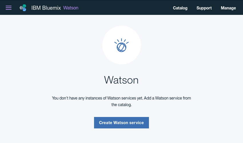 Watson services home screen