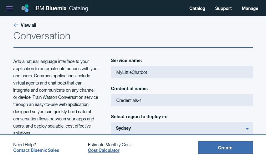 Conversation service configuration form
