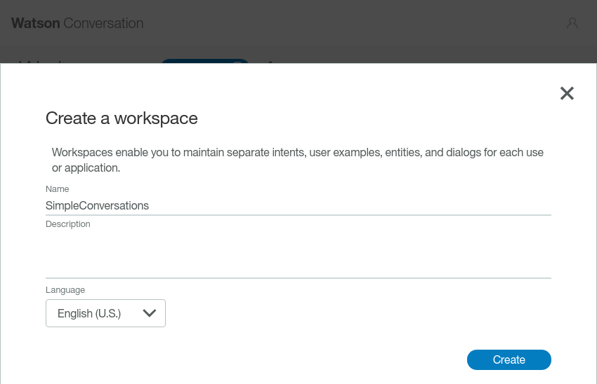 Workspace configuration dialog