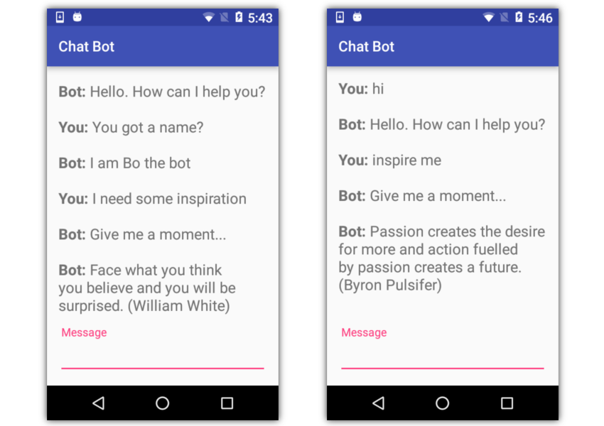 The Android chatbot running