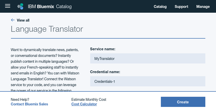 Configuring Language Translator service