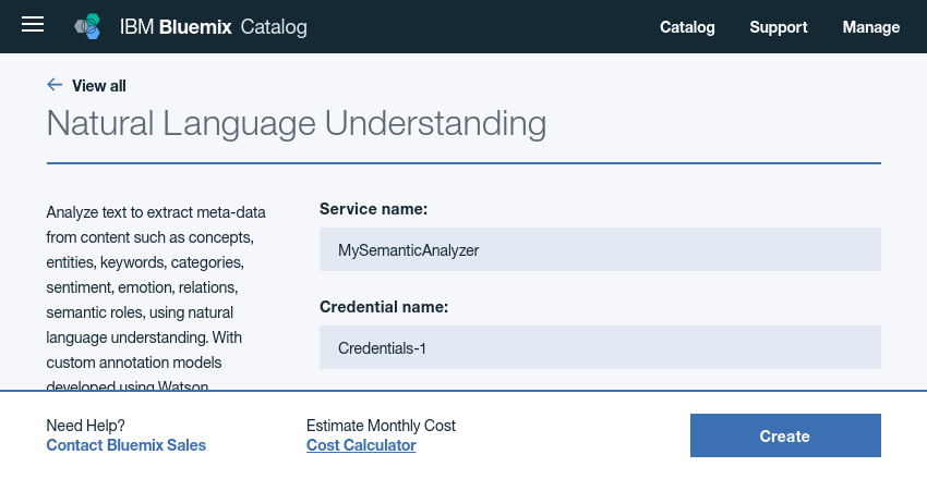 Configuring Natural Language Understanding service