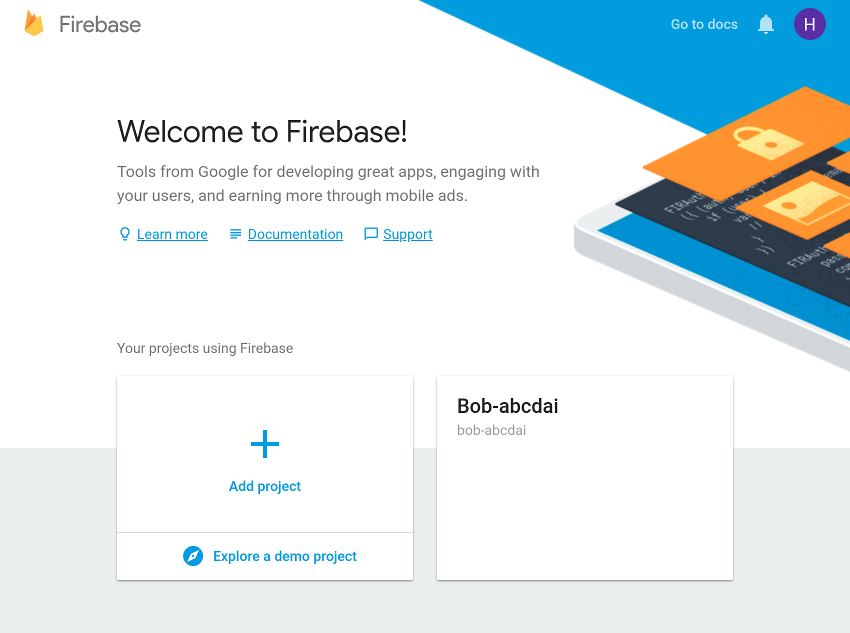 Firebase console welcome screen
