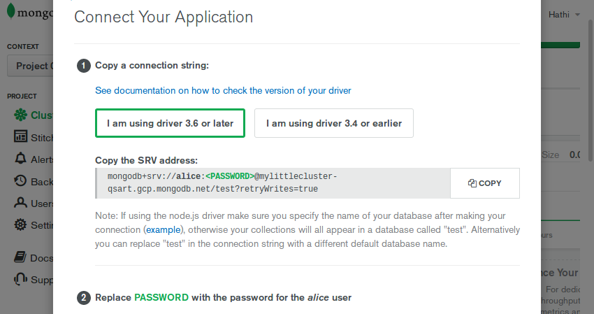 Connecting your application dialog