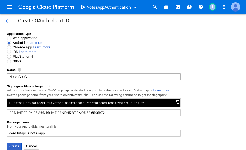 OAuth client ID creation form