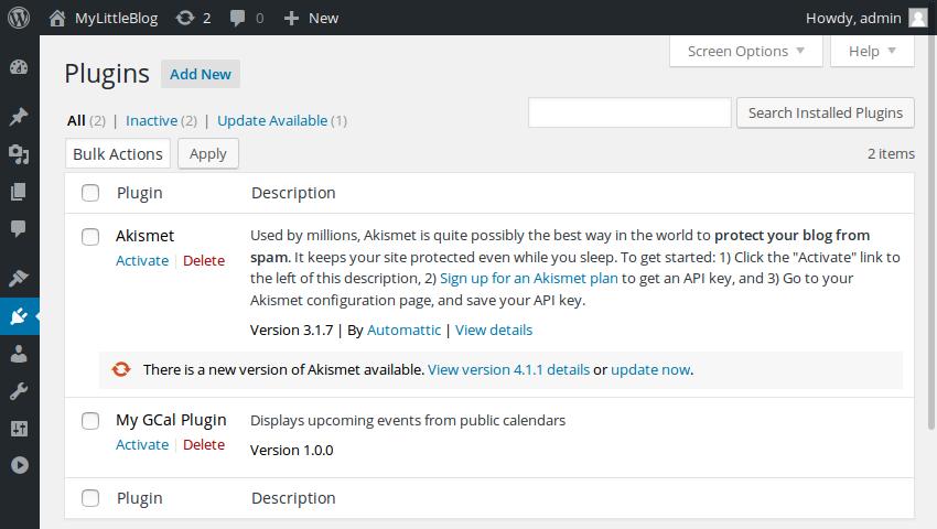 Admin panel plugins section
