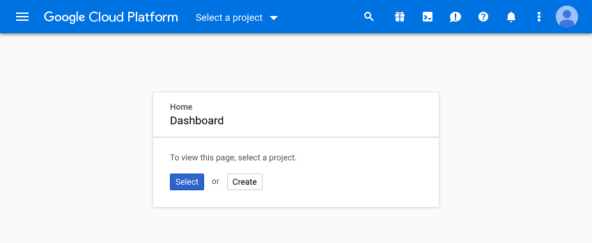 Dashboard of the Google Cloud Platform console