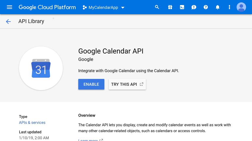 Calendar API home