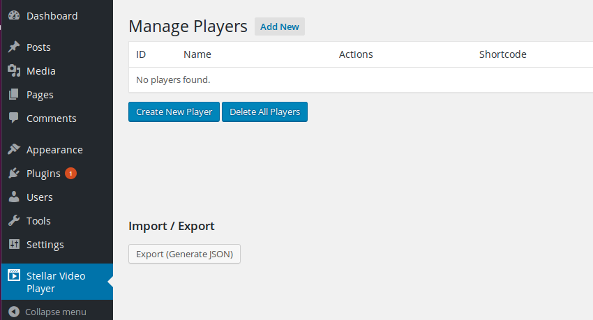 Player management screen