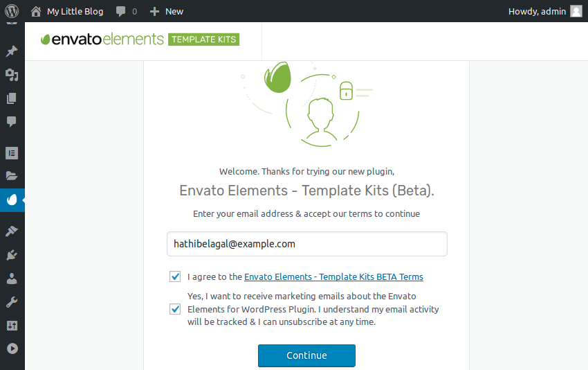 Envato Elements welcome screen