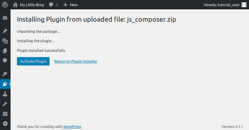 Installing plugin from ZIP file