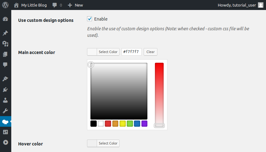 Custom design options