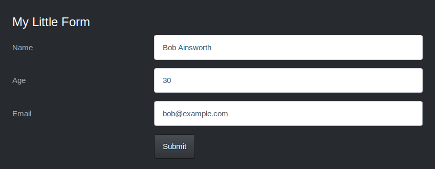Form with Slate theme