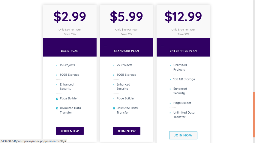 Completed pricing table