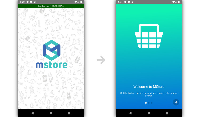 Splash and intro screens of MStore Pro