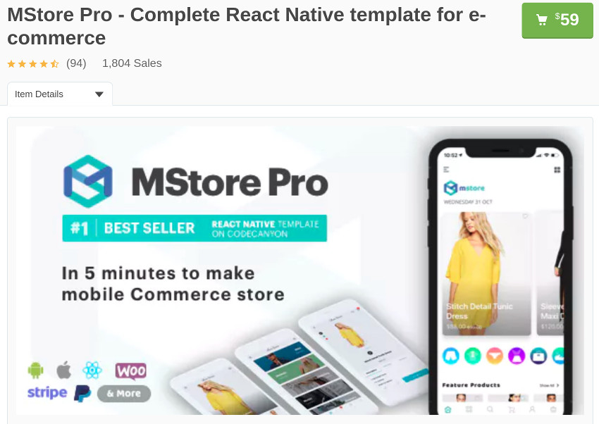MStore Pro page on CodeCanyon