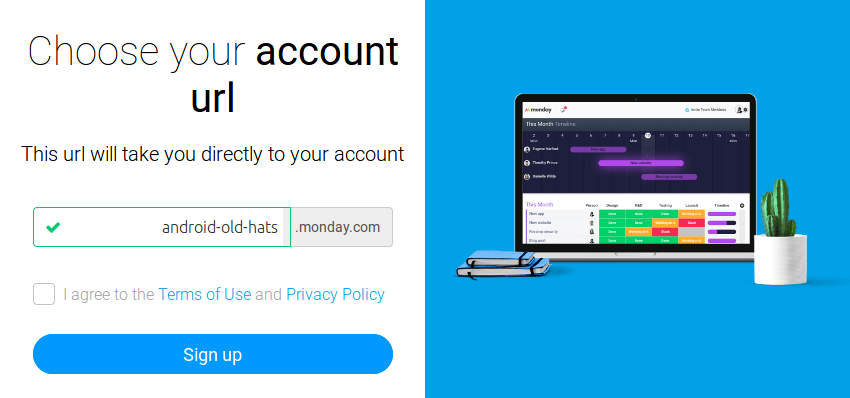 Account URL creation page
