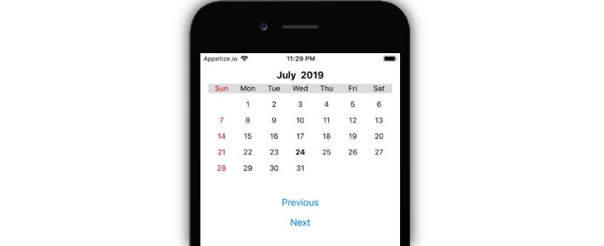 Custom calendar component