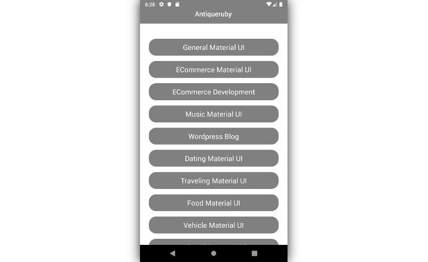 Homescreen of Antiqueruby app