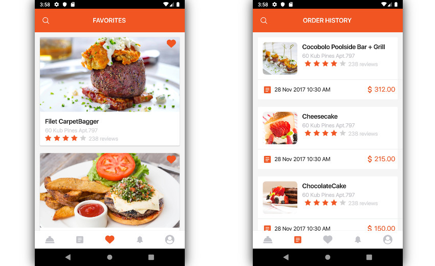 Food app layouts