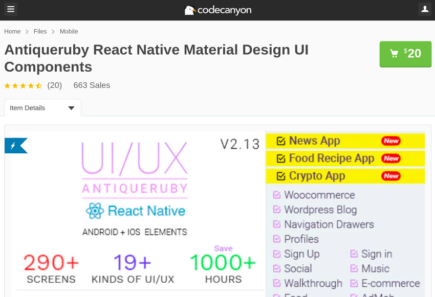Antiqueruby React Native on CodeCanyon