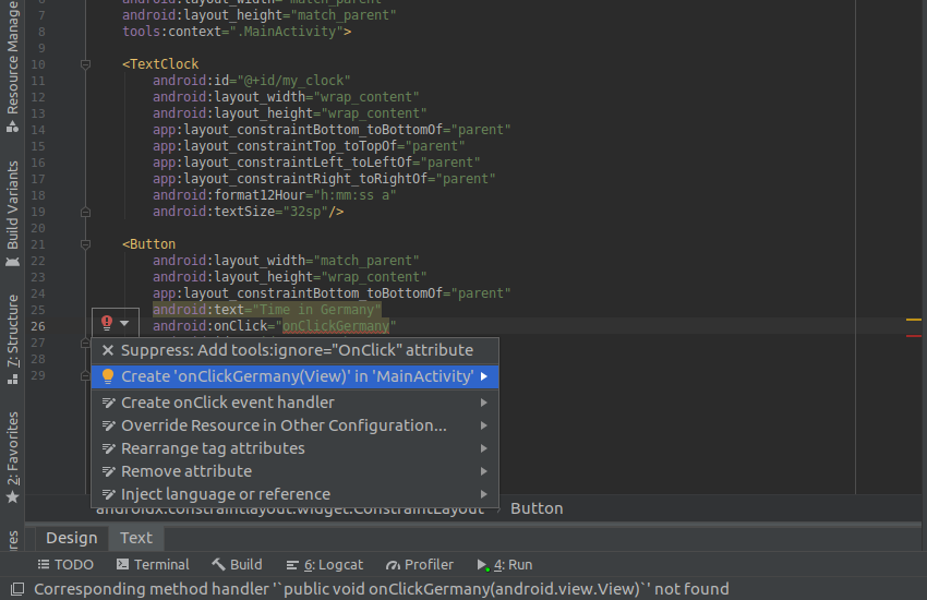 Create onClick handlers with Android Studio