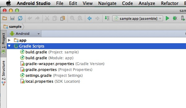 The first two items in the Gradle Scripts folder are the project-level and module-level Gradle build files