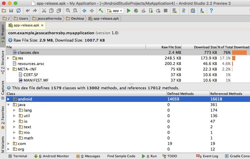 The APK Analyzer displays the contents of your APK along with the size of each component