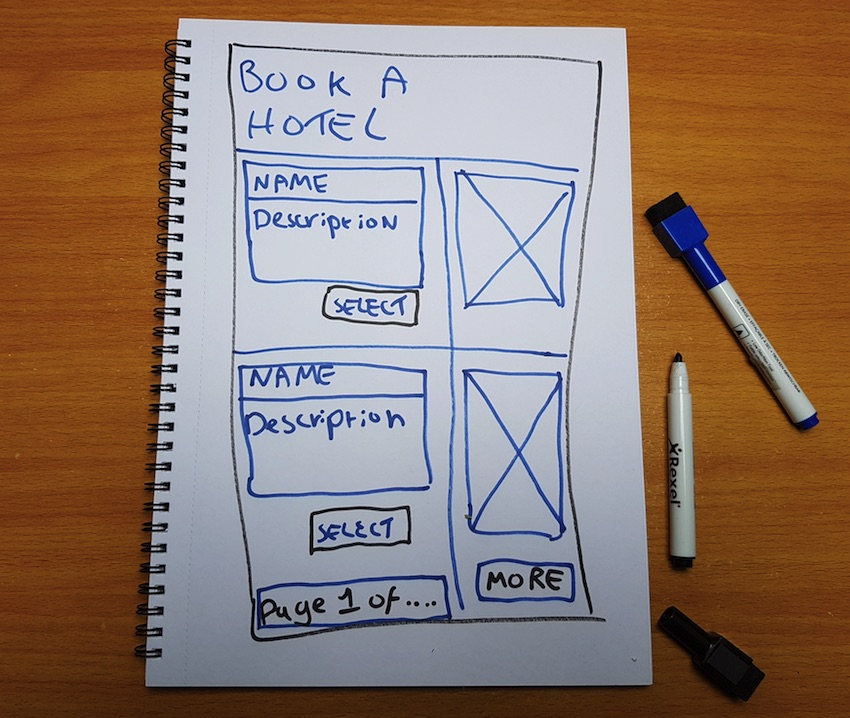 An example of a paper wireframe