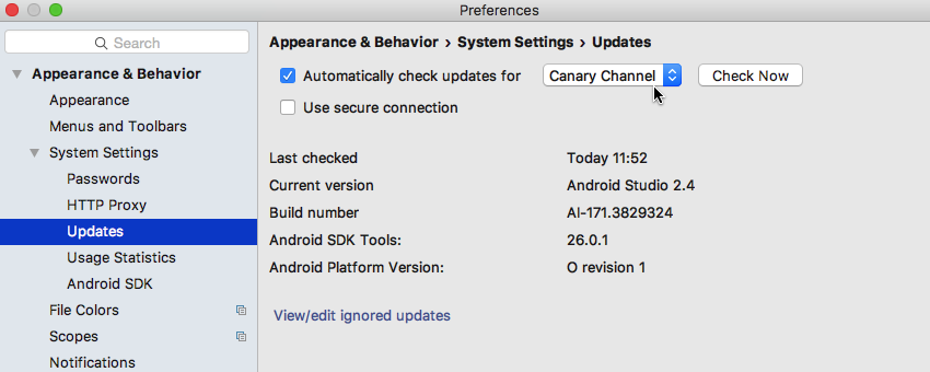 Switch to the Android Studio Canary Channel