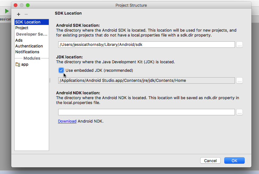 Navigate to File  Project structure  SDK Location and select the Use embedded JDK checkbox