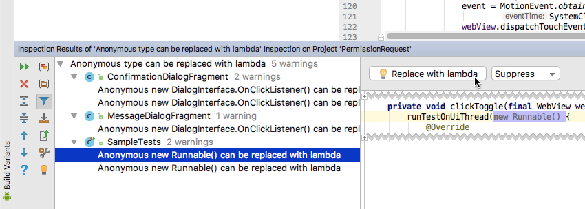 In the Inspection Results window select the Replace with lambda button