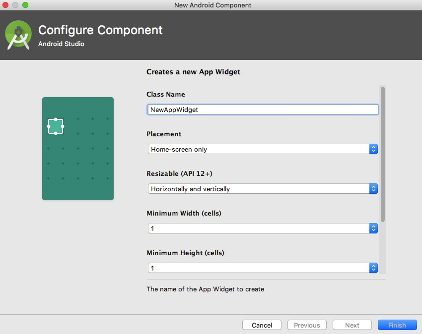 Configure your widgets settings in Android Studio