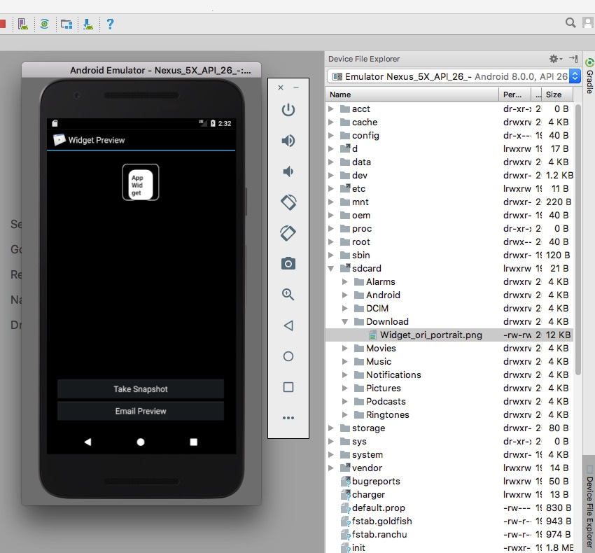 Create a preview image using the Android Virtual Devices built-in Widget Preview app