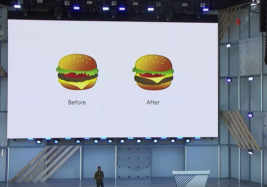 Google CEO Sundar Pichai unveils Googles new and improved burger emoji