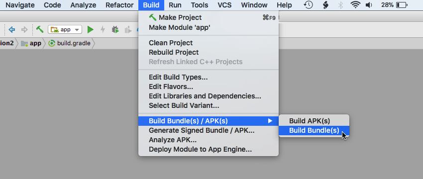Select Build  Build Bundles  APKs  Build Bundles from the Android Studio toolbar