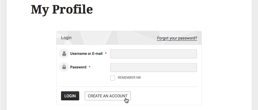 Everyone who visits your website can create a profile by selecting Create an account