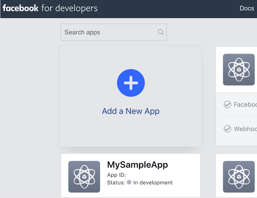 Create a new Facebook for Developers app