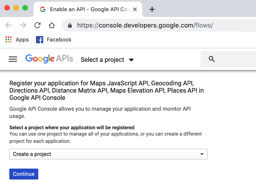 Create a new project in the Google APIs Console