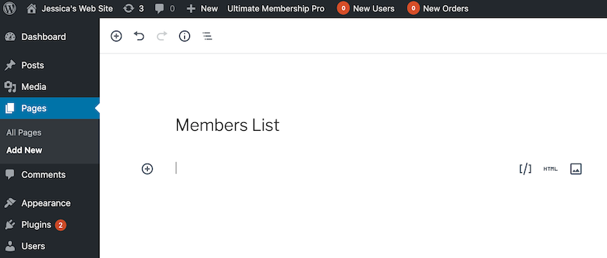You can turn any page into a Members List by copypasting UMPs automatically-generated shortcode