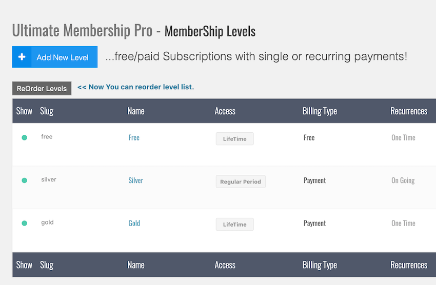 To change the order your subscription levels appear click the ReOrder Levels button