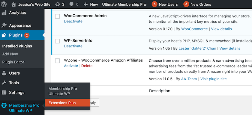 A new Membership Pro WP option should now appear in the WordPress menu